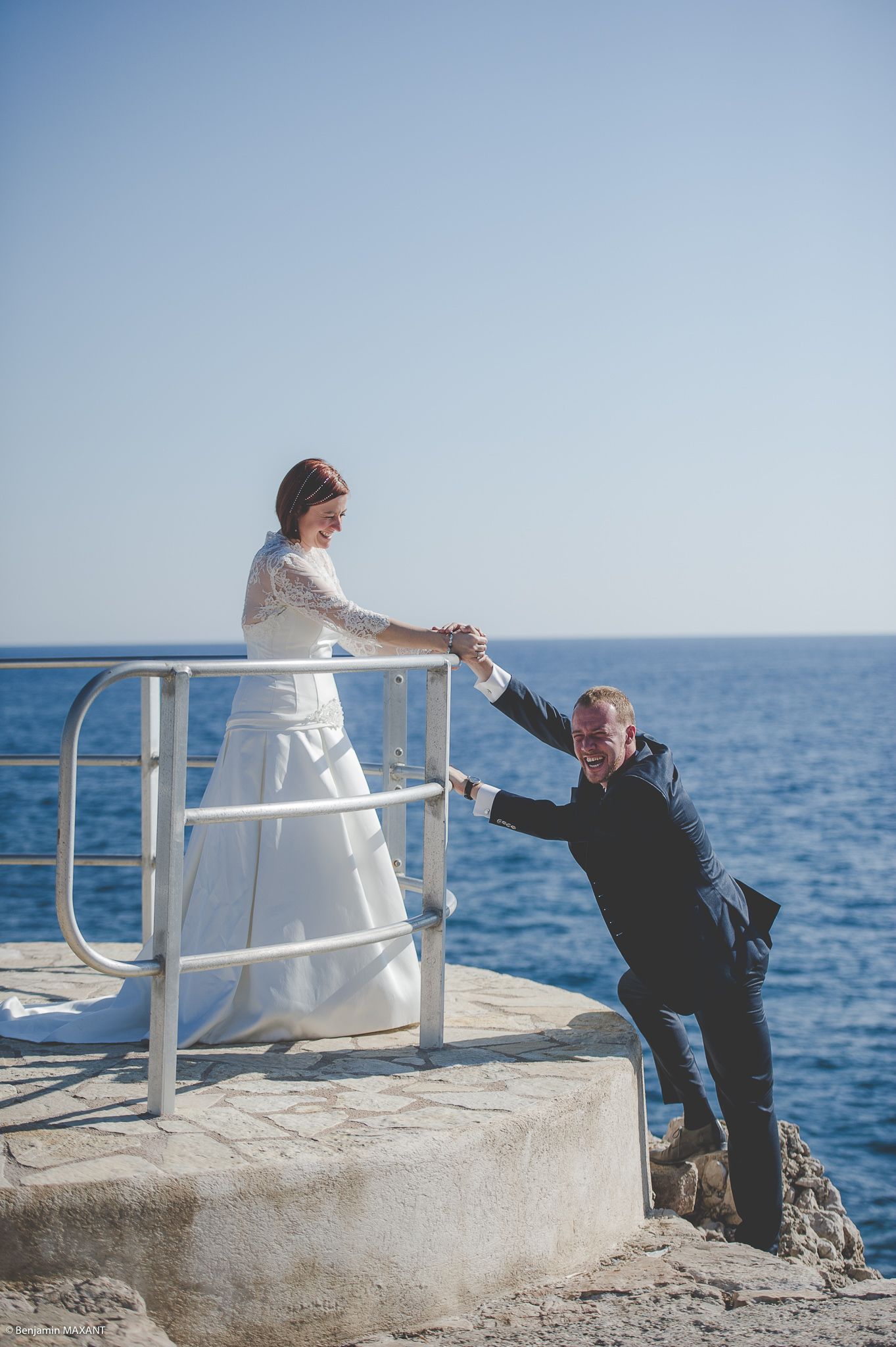 Cap d'Antibes fun engagement photo shoot