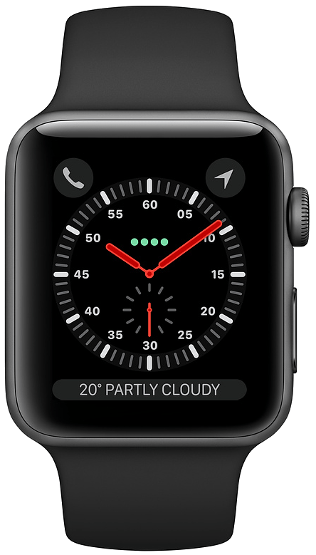 Apple Watch Series 3 42mm (GPS) Space Grey Aluminium Case with Black Sport Band at £20.00 on Smartwatch (24 Month(s) contract) with UNLIMITEDMB of 4G data. £20.00 a month.