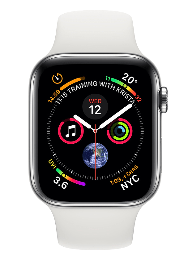 Apple Watch Series 5 40mm (GPS+Cellular) Silver Aluminium Case with White Sport Band on Smartwatch (24 Month(s) contract) with UNLIMITEDMB of 4G data. £28.00 a month.