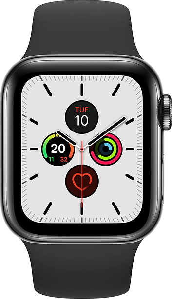 Apple Watch Series 5 44mm (GPS+Cellular) Space Grey Aluminium Case with Black Sport Band at £30.00 on Smartwatch (24 Month(s) contract) with UNLIMITEDMB of 4G data. £28.00 a month.