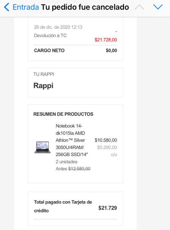 Pedido cancelado por Rappi