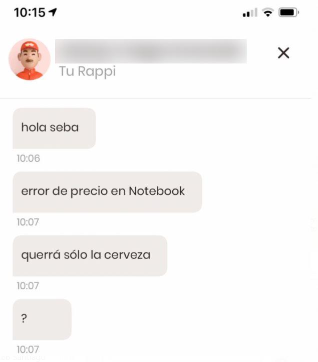 Respuesta de Shopper de Rappi