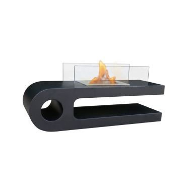 purline a designer lounge table in black with a bio ethanol fireplace modern decoration for every interior