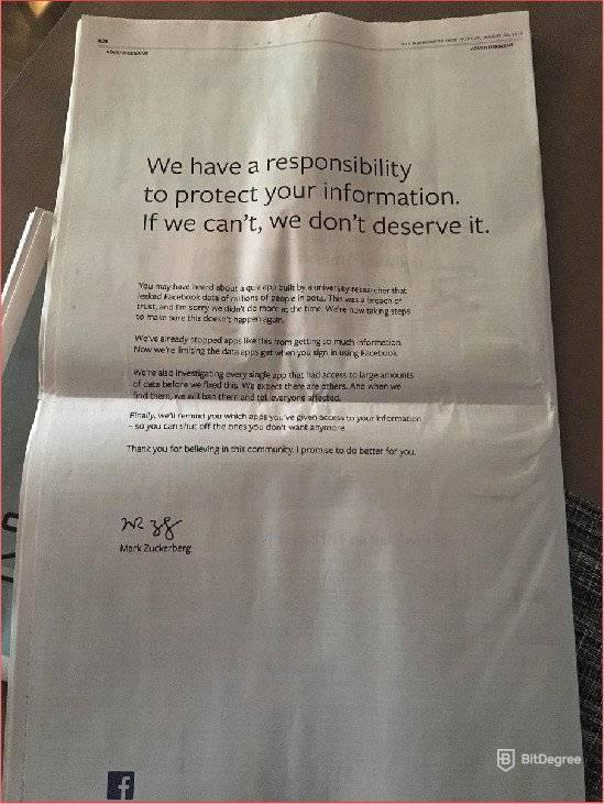Facebook apoligy from Mark Zuckerberg