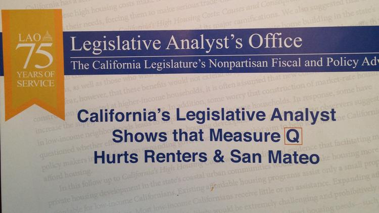 A Bay Area rent control activist filed a complain with the state's Fair Political Practices Commission over this anti-rent control mailer from the California Apartment Association. The complaint claims the mailer misleads readers to believe it was sent by California's Legislative Analyst's Office and that the LAO opposes Measure Q (San Mateo's rent control initiative), which it does not. The FPPC explicitly states that they only regulate disclosure requirements (who sent it, major funders) and not the contents of a mailer.