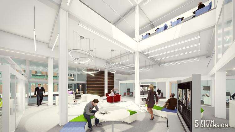 """A rendering of """"The Post,"""" a 20th Street building that will renovated into new office space."""