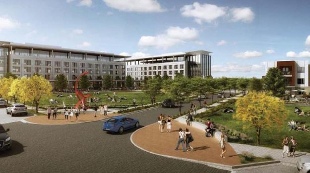 Hall Park at Richardson will have a park system connecting the office buildings and the apartments.