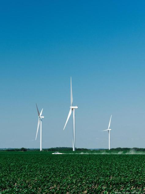 Completed wind turbines at the site of a wind farm under construction in Milligan, Neb., on June 8, 2020. The coronavirus pandemic has delayed deliveries and disrupted construction of the wind project being built by EDF, a French energy company.