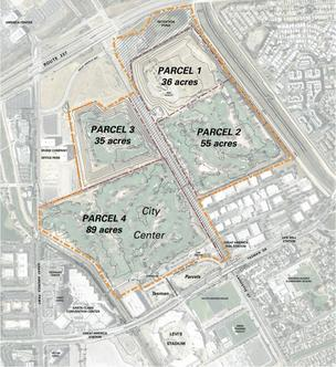 This map shows the Montana/Lowe project proposed for the Tasman Parcels just north of Levi's Stadium. Above that is the first phase of Related California's City Center project, dubbed Parcel 4. The other three parcels would be built out later.