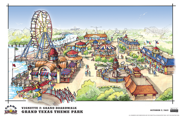 An updated rendering of the Grand Texas theme park.