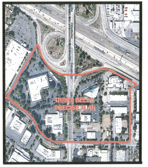The outlined area shows where Calvano Development is proposing a new redevelopment zone in Mountain View