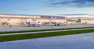 A rendering of a new private aviation terminal approved for Mineta San Jose International Airport.