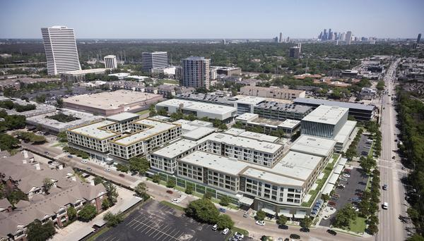 Aerial-view rendering of the River Oaks District development, which sits on 14 acres just inside the 610 Loop, east of the Galleria, and fronts Westheimer Road.