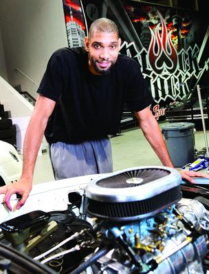 NBA superstar Tim Duncan isn't just one of the league dominant players. He's also one of the wealthiest. Here he stands at his Blackjack Speed Shop, a vehicle customization company.