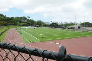 View of the new turf at Punahou School's new Alexander Ffield from the Punahou Street side view.