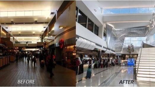 LAX Terminal 2 before and after.