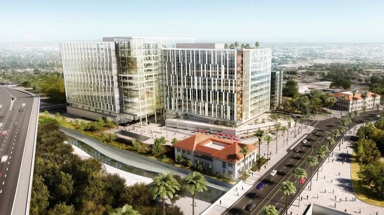 Two office towers are planned for near Diridon Station on land now used for SAP Center parking.
