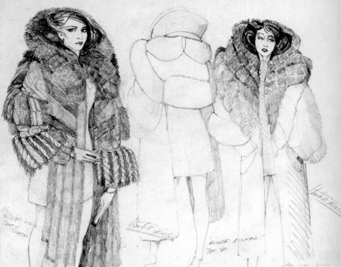 Charles Knode fur-trimmed coat sketches for Blade Runner