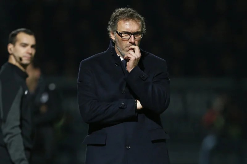 ANGERS, FRANCE - DECEMBER 1: Coach of PSG Laurent Blanc looks on during the French Ligue 1 match between Angers SCO and Paris Saint-Germain (PSG) at Stade Jean Bouin on December 1, 2015 in Angers, France. (Photo by Jean Catuffe/Getty Images)