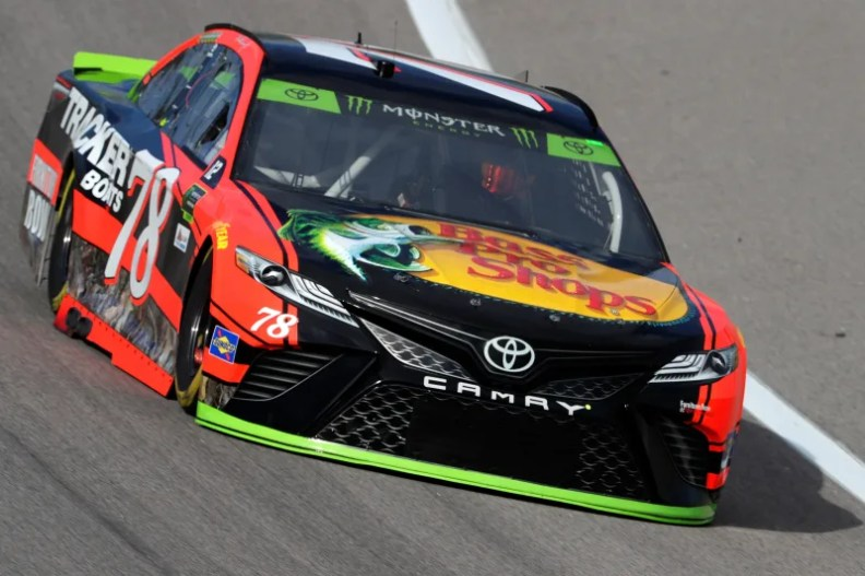 KANSAS CITY, KS - OCTOBER 20:  Martin Truex Jr., driver of the #78 Bass Pro Shops/Tracker Boats Toyota, practices for the Monster Energy NASCAR Cup Series Hollywood Casino 400 at Kansas Speedway on October 20, 2017 in Kansas City, Kansas.  (Photo by Jamie Squire/Getty Images)