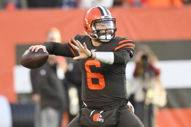 Cleveland Browns quarterback Baker Mayfield (6) looks to throw during an NFL football game against the Baltimore Ravens, Sunday, Dec. 22, 2019, in Cleveland. The Ravens won 31-15. (AP Photo/David Richard)
