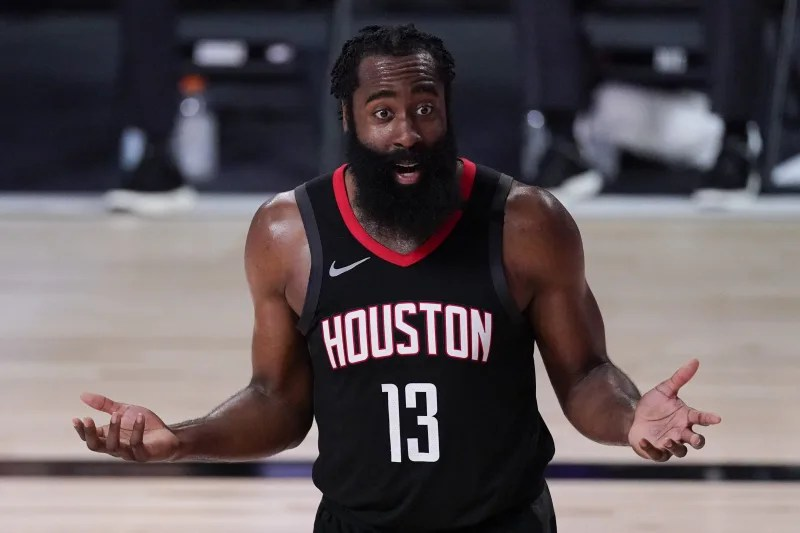 Houston Rockets' James Harden (13) argues a call during the second half of an NBA conference semifinal playoff basketball game against the Los Angeles Lakers Saturday, Sept. 12, 2020, in Lake Buena Vista, Fla. (AP Photo/Mark J. Terrill)