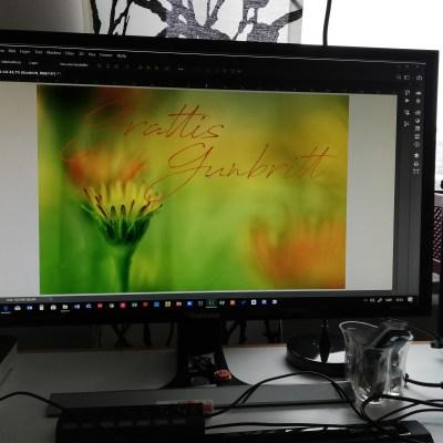 Ett gratulationskort tillverkas till Gunbritt -av Margareta