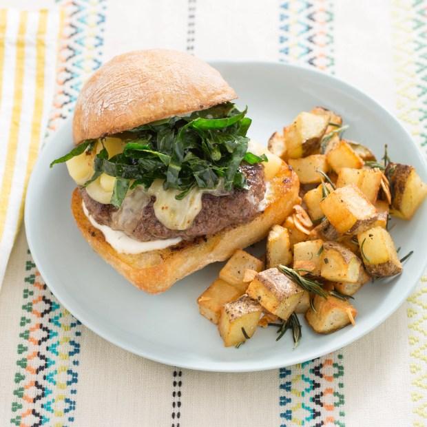 Trattoria-Style Cheeseburgers with Crispy Rosemary-Garlic Potatoes & Aioli