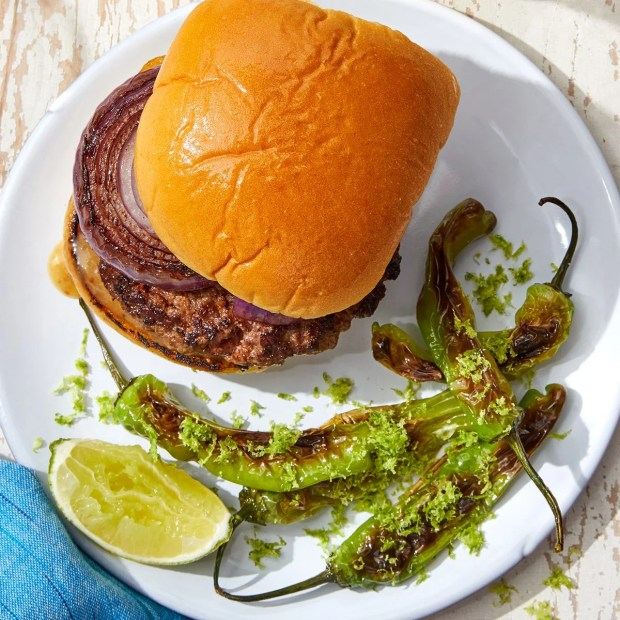 Spanish-Spiced Burgers with Charred Shishito Peppers & Lime Salt