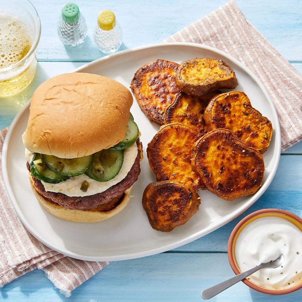 Indian-Style Burgers with Creamy Mango Chutney & Spicy Cucumber