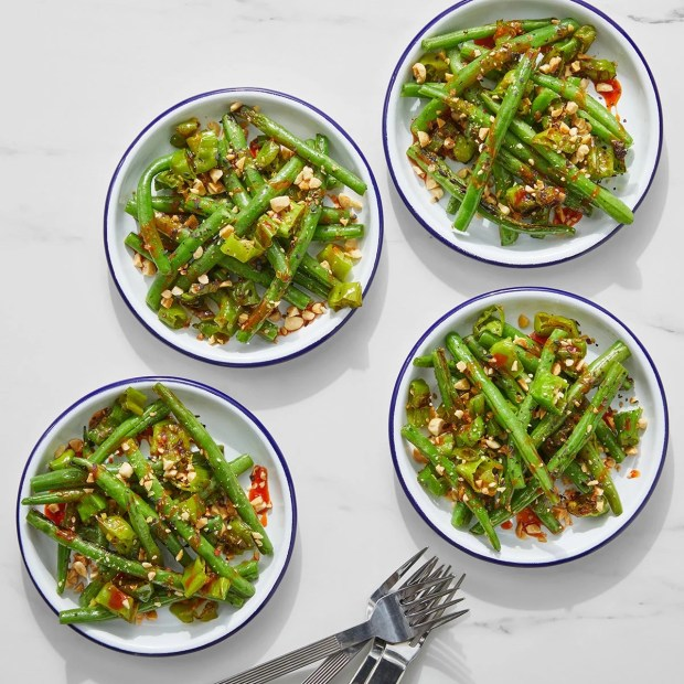 Spicy Green Beans & Shishito Peppers with Ginger & Peanuts