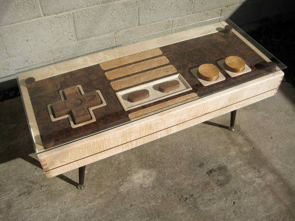 handmade wooden coffee-table resembles giant nes controller