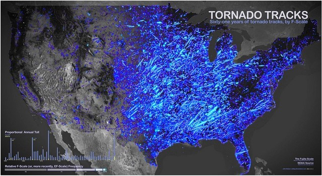 Sixtyone years of tornadoes in one map Boing Boing