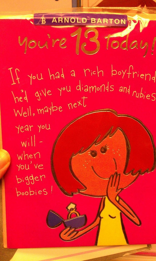 Sexist 13th Birthday Card For Girls Boing