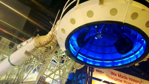 """Continuing with the artifacts, the """"beanie cap"""" was key in fueling the shuttle's external tank with 500,000 gallons of liquid fuel. You can now walk underneath it and see what's in there."""