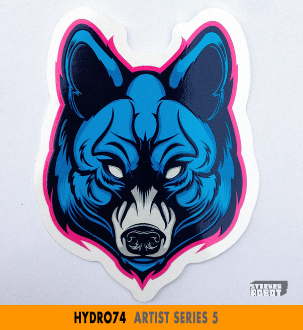 Sticker robots selling a new pack of great die cut stickers from hydro74 featuring five stylized animal heads of daemonic mien limned and pinstriped and