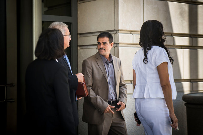 Sarhan Deab Abdul Moniem leaving court on Tuesday after testifying in the Blackwater trial.  Gabriella Demczuk/NYT