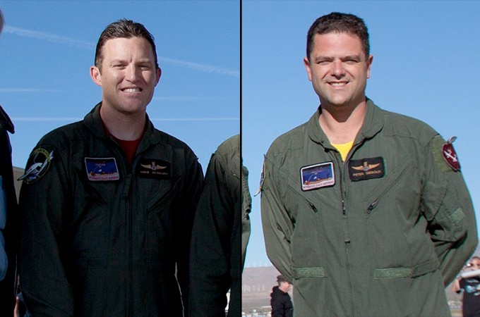 Pilot Peter Siebold (R) and co-pilot Michael Alsbury (L) were flying Virgin Galactic's SpaceShipTwo when it was lost in flight on Oct. 31, 2014. Alsbury, 39, died in the crash. (Virgin Galactic)