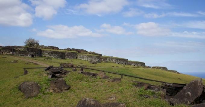 Orongo stone houses.