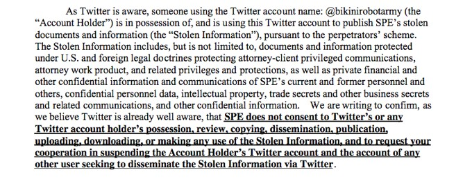 Snip from the lawyergram from Sony to Twitter. Read the entire thing here.