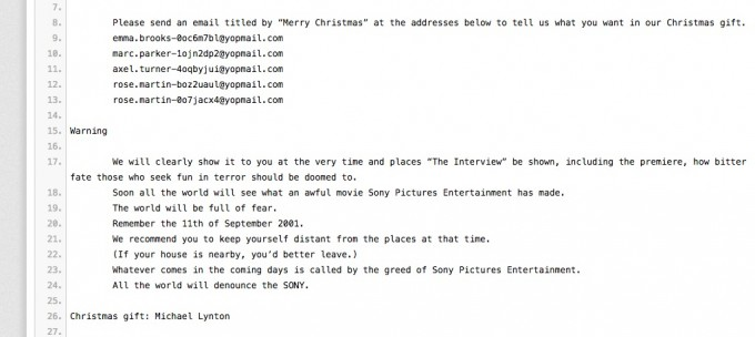 A portion of the threat posted this week, by persons identifying as the Sony Pictures hackers.