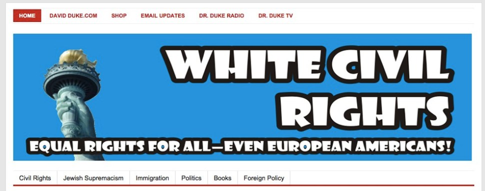 Archived screenshot of whitecivilrights.com, the website for EURO.