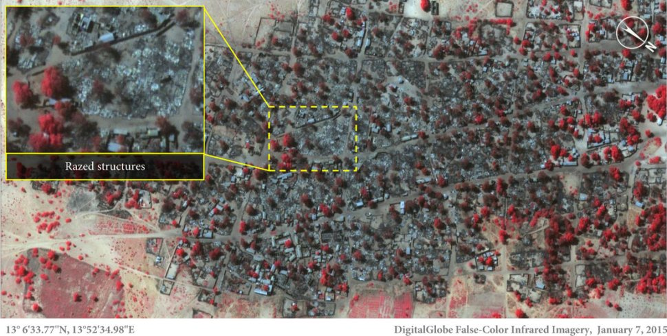 Satellite image of dense housing in Doro Baga taken on Jan. 7, following Boko Haram massacre. This image shows nearly all structures destroyed. The inset highlights the level of destruction. Red areas indicate remaining  vegetation. Micah Farfour/DigitalGlobe.