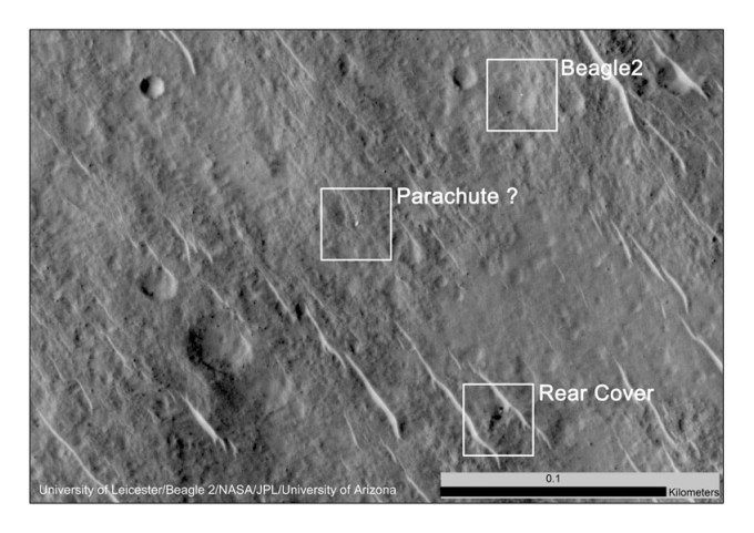 """This annotated image shows where features seen in a 2014 observation by NASA's Mars Reconnaissance Orbiter have been interpreted as hardware from the Dec. 25, 2003, arrival at Mars of the United Kingdom's Beagle 2 Lander."" [JPL]"