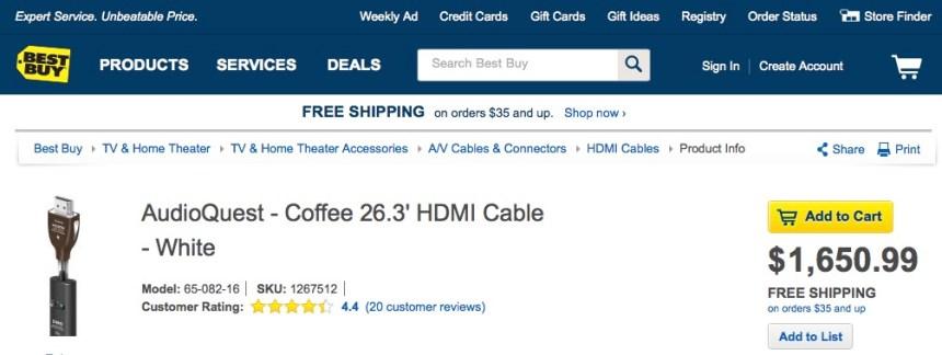 Coffee White HDMI Cable