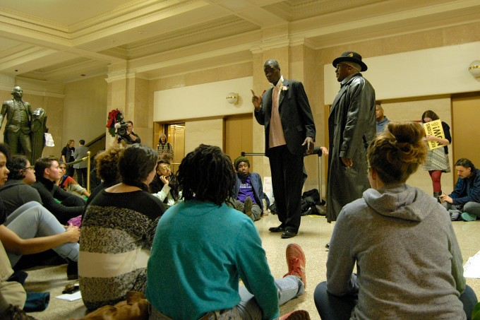 Survivors Darrell Cannon & Anthony Holmes lead a teach-in [photo by Caroline Siede]
