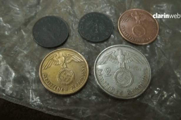Coins at the Argentine site, believed to have belonged to the Third Reich officials who fled.