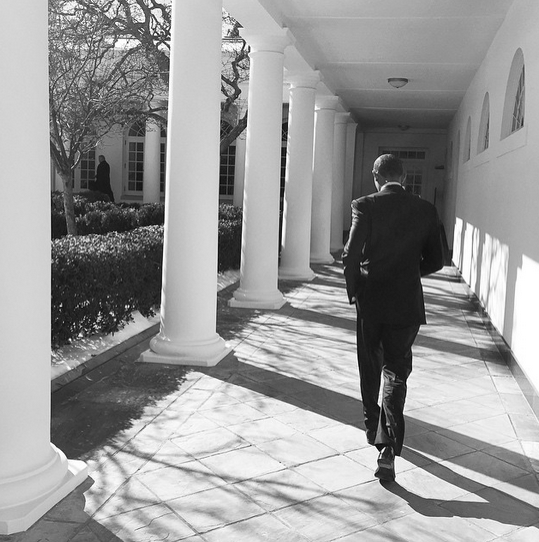 """""""President Obama on the White House colonnade today."""" By Pete Souza via Instagram"""