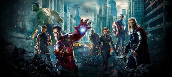 Scarlett Johansson and the men of The Avengers