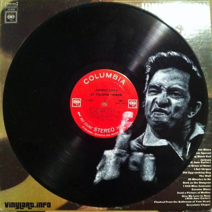Johnny Cash. Vinyl Art by Daniel Edlen.